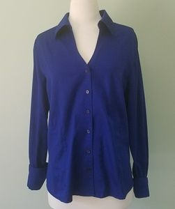 Blue Coldwater Creek work blouse size large